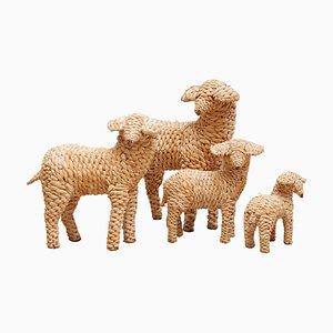 Vintage Folk Art Sheeps, Set of 4