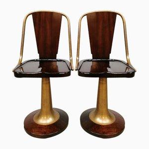 Mid-Century Mahogany Brass Nautical Stools Krukken, Set of 2
