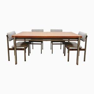 Niederländischer Vintage Pali Esstisch & Stühle Set von Louis Teeffelen für Webe