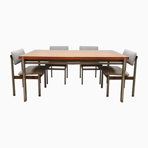Vintage Dutch Pali Dining Table & Chairs Set by Louis Teeffelen for Webe
