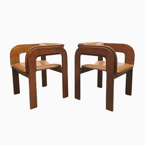 Sedie da pranzo Mid-Century in legno, Italia, set di 4
