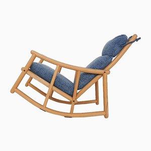Scandinavian Modern Birch Spindle Rocking Lounge Chair, 1960s