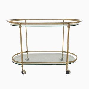 Mid-Century Modern Glass and Gold Serving Trolley or Bar Cart, 1970s
