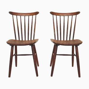 Brown Spindle Back Chairs, 1950s, Set of 2