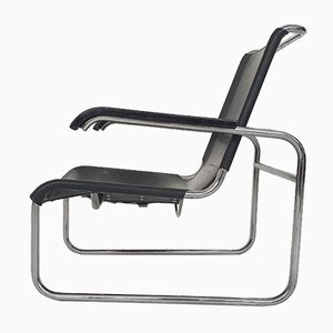 Black Leather Model S35 Tubular Lounge Chair by Marcel Breuer for Thonet, Germany, 1970s