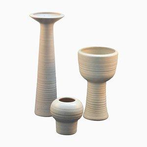 Group of Tall Studio Pottery Chalk White Floor Vases, Set of 3