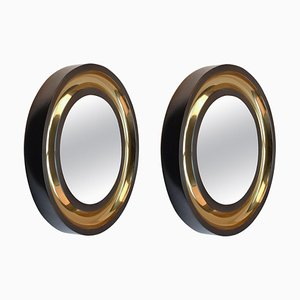 Round Wall Mirrors Patinated with Bronze Finish, Set of 2