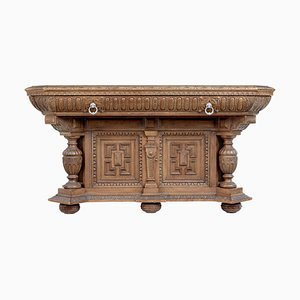 Late Victorian Profusely Carved Oak Library Table
