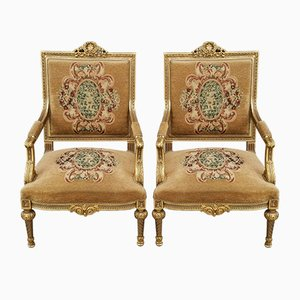 Italian Gilded Chairs, 1950s, Set of 2