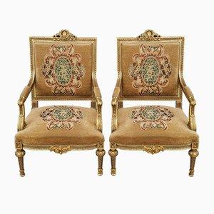 Italienische Vergoldete Stühle, 1950er, 2er Set