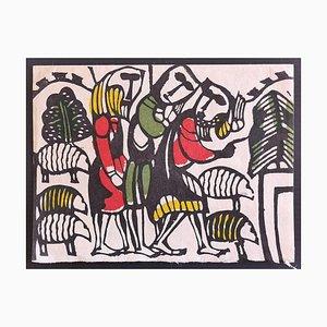 Sadao Watanabe, Shepherds, Woodcut, Late 20th Century