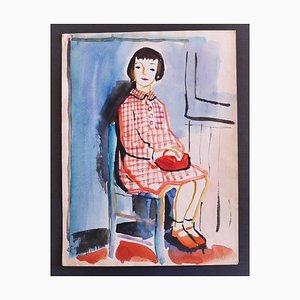 Nicola Simbari, The Girl, Mixed Media on Paper, 1960s
