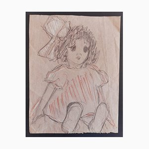 Jules Charles Boquet, the Girl, Pencil and Pastels on Paper, Early 20th Century