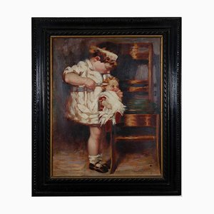 Sconosciuto, bambino e bambola, dipinto ad olio su tela, inizio XX secolo