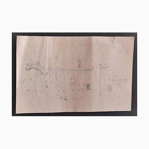 Enrico Coleman, Römische Landschaft, Bleistift auf Papier, frühes 20. Jahrhundert
