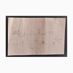 Enrico Coleman, Roman Landscape, Pencil on Paper, Early 20th Century