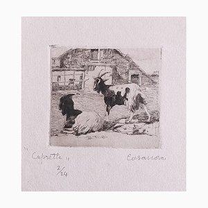 Carlo Casanova, The Goats, Etching, Early 20th Century