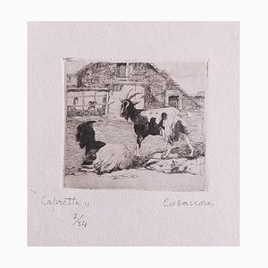 Carlo Casanova, The Goats, Radierung, Frühes 20. Jahrhundert