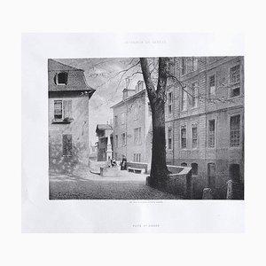 Lithographie de l'Intérieur de Geneve, Antonio Fontanesi, 19ème Siècle