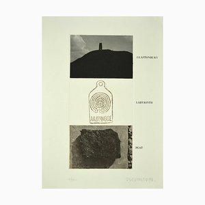 Joe Tilson, Glastonbury, Labyrinth, Peat, Etching on Paper, 1976