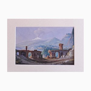 Unknown, Sicilian Landscape with Aetna Non the Background, Gouache, Early 20th Century