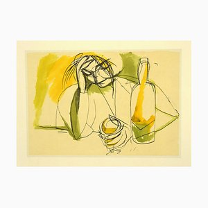 Renato Guttuso, Frau an der Bar, Offsetdruck, 1980er
