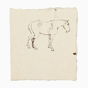 Disegno a inchiostro sconosciuto, cavallo, Cina, 1894
