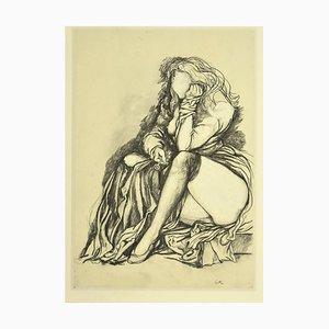 Renato Guttuso, Melancholy, Vintage Offset Print, 1980s