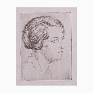 Unknown, Portrait, Etching on Paper, 1930s