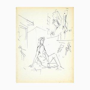Herta Hausmann, Female Nudity, Ink Drawing, 1950s