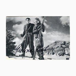 Cartolina autografa vintage di Gregory Peck, sconosciuta, anni '50