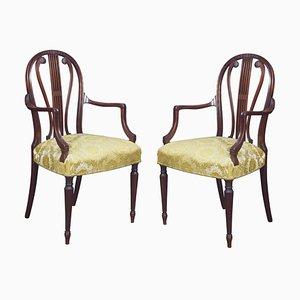 Hepplewhite Design Mahogany Armchairs, Set of 2