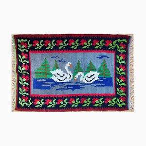 Vintage Romanian Carpet with Delicate Swans