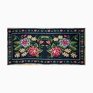 Vintage Romanian Carpet with Charming Floral Design