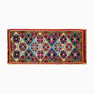 Romanian Handmade Rainbow Wool Rug with Flowers