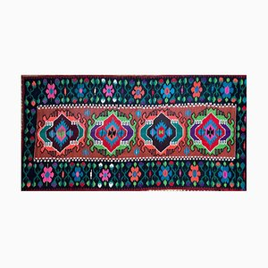 Large Moldavian Runner Rug with Stylized Flowers and Geometric Design