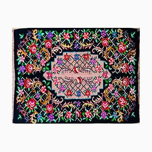 Romanian Hand Woven Wool Rug with Floral Design and Black Background