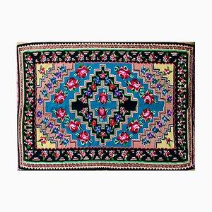 Handgewebter rumänischer Teppich aus Wolle mit floralem Muster