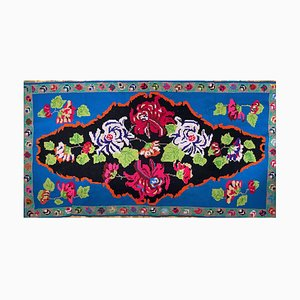 Romanian Blue Hand Woven Carpet with Floral Design