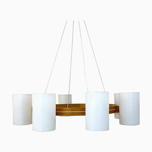 Large Chandelier in Pine and Acrylic, Sweden, 1960s