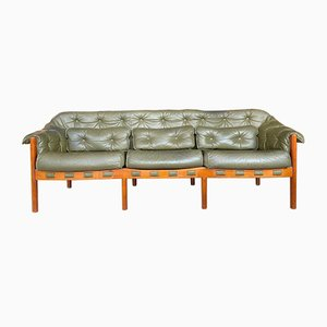 Mid-Century Swedish Leather Coja Sofa by Arne Norell