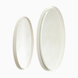 Oval Mirror with a White Lacquered Wood Frame, Germany, 1970s