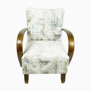 Österreichischer Art Deco Armlehnstuhl aus Buchenholz mit Erneutem Weiß und hellgrauem Samtbezug
