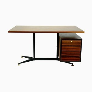 Mid-Century Italian Rosewood, Brass and Steel Desk