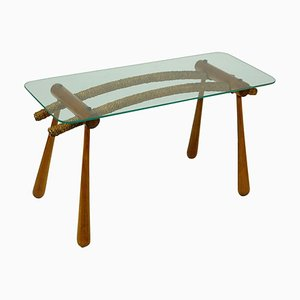 Austrian Mid-Century Beechwood Side Table with Cord and Glass Top by Max Kment