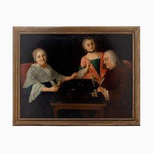 Gruppenbild des 18. Jahrhunderts mit der Familie, die Backgammon spielt