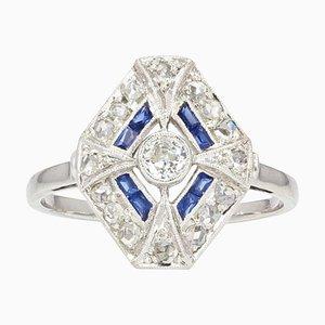 Französischer sechseckiger Art Deco Sechskant-Ring aus Saphir-Diamanten, 1930er