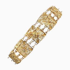 18 Karat Yellow Gold Filigree Square Links Bracelet, 1960s