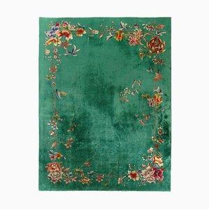 Tapis Nichols Art Déco Vert et Fleurs, Chine, 20ème Siècle