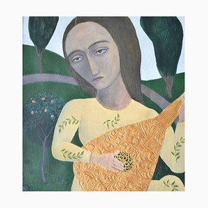 Rhythm of Summer, Figurative Mixed Media Painting, 2000